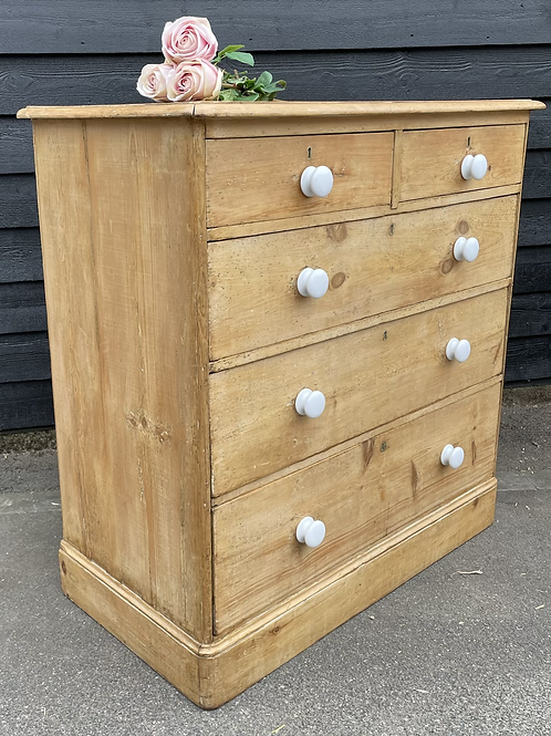 Stripped Victorian Pine Chest Of Drawers