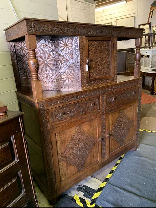 Great Quality Early 20th Century Carved Oak Court Cupboard By Vernon Hale