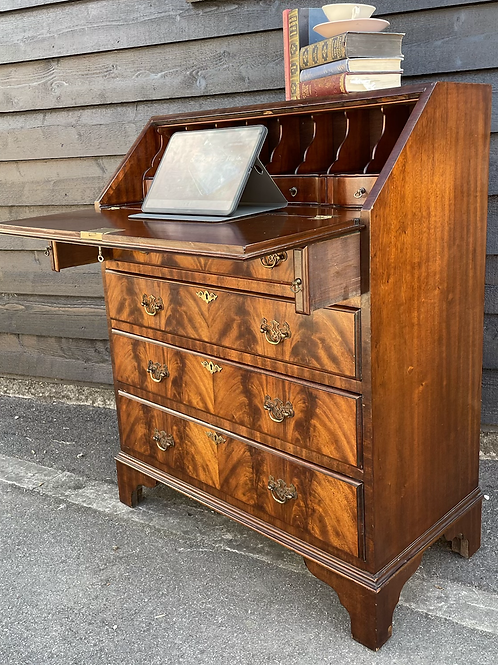 Georgian Style Reproduction Slope Front Writing Bureau Desk With Drawers