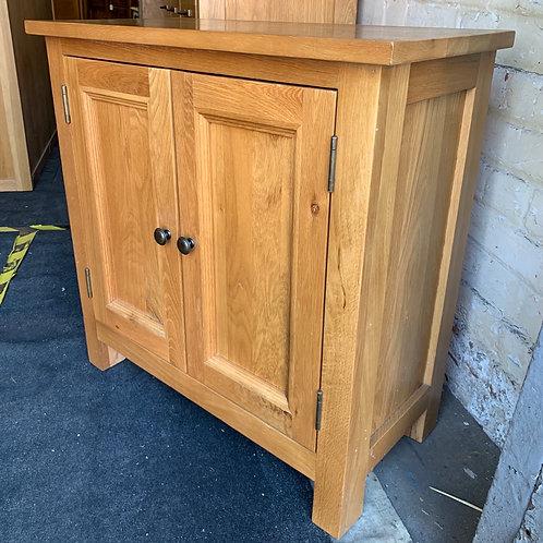 Small Contemporary Light Oak Two Door Cupboard / Cabinet