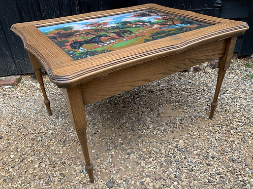 Handmade Oak Coffee Table With Embroidered Yop