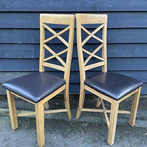 Pair Of Modern Light Oak Cross Bar Back Dining Chairs