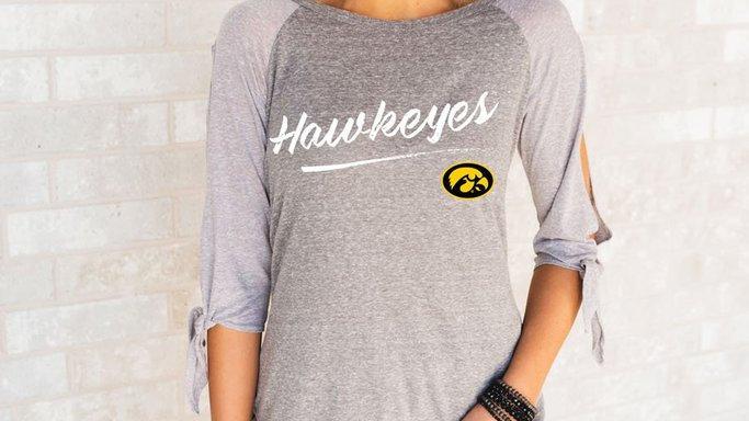 Hawkeyes Split Tie Sleeve Top