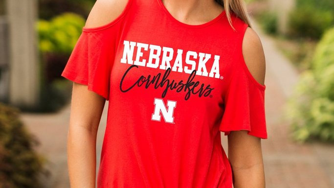 Nebraska Cornhuskers Cold Shoulder Top