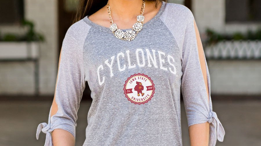 Cyclones Split Tie Sleeve Top