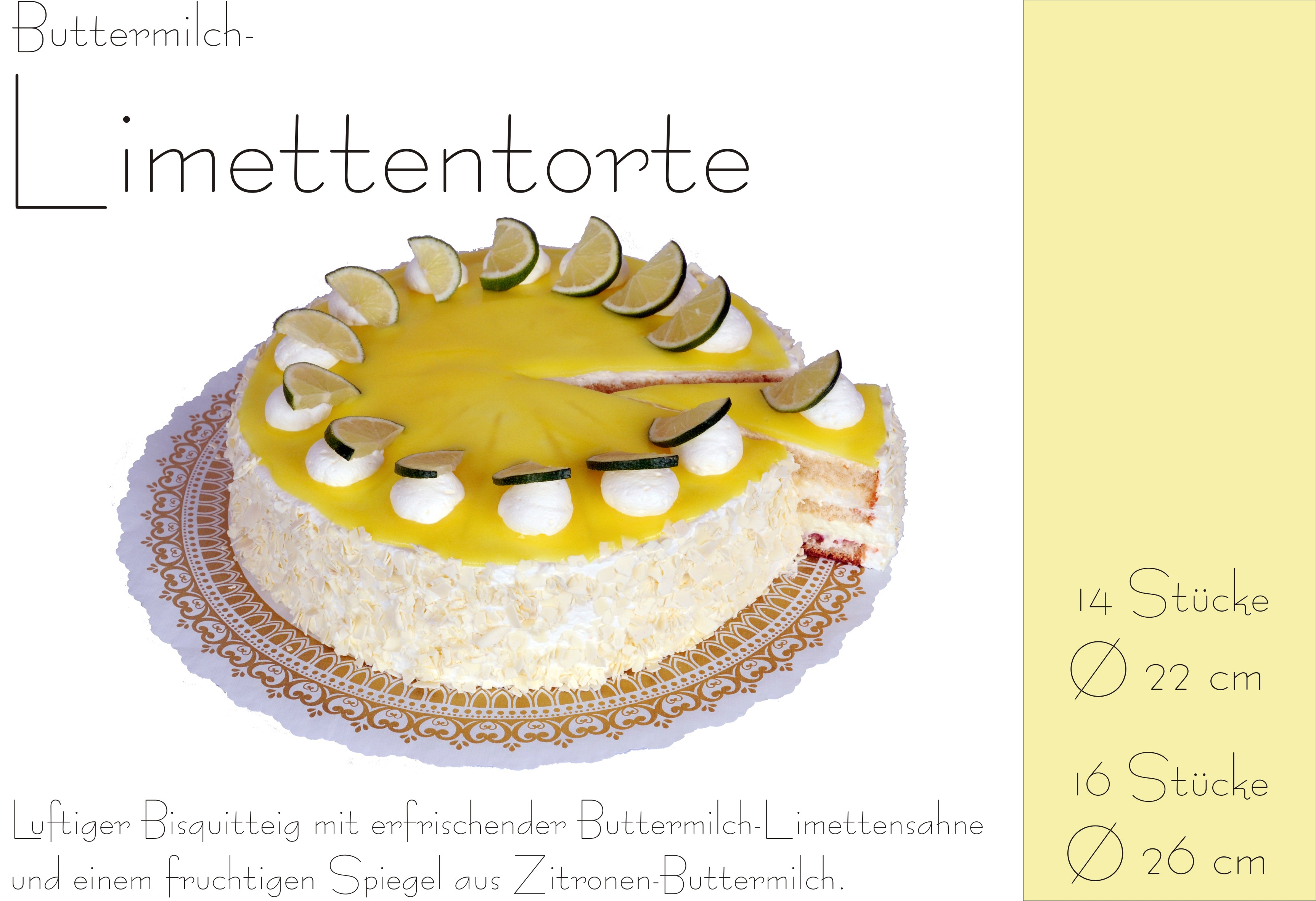 Buttermilch-Limettentorte