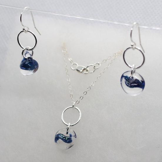 Deep Blue Sparkle glass set