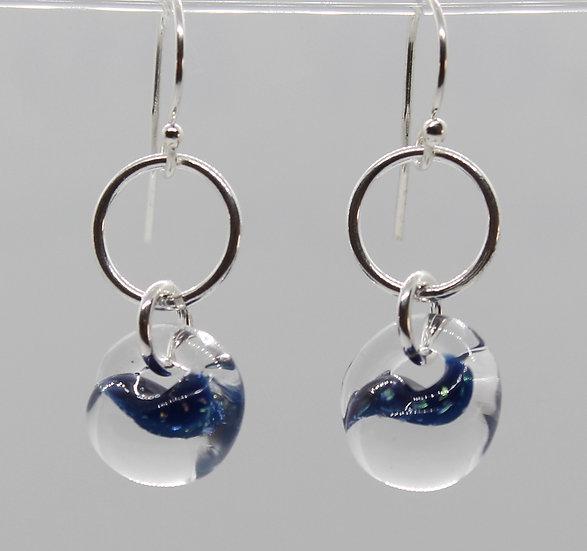 Deep Blue Sparkle glass dangle
