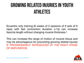 Eccentric loading for growing related injuries