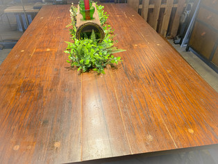 This dining table comes from an old bridge.