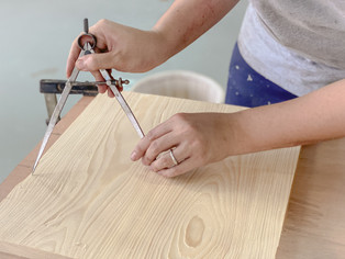 Measuring the circumference of a dining chair seat