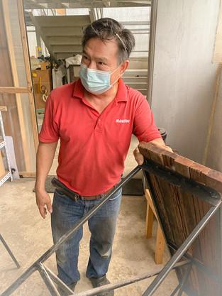 Very proud of his wood retrieval