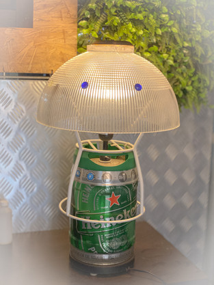 Using a lamp cover, planter wired cage and a beer canister