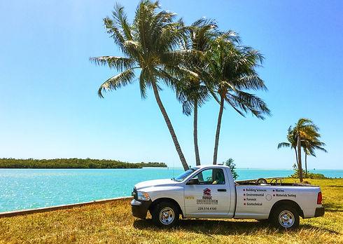 Forge Engineering work truck near water in beautiful Florida