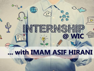 Internship @WIC with Imam Asif Hirani