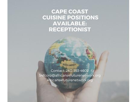 Cape Coast Cuisine Job Opportunity: Receptionist