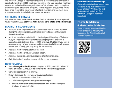 SCHOLARSHIPS For Students in Healthcare Management Graduate Programs