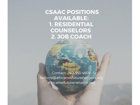 CSAAC Job Opportunities: Residential Counselors & Job Coach