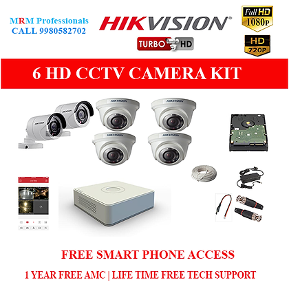 6 HIKVISION 1MP HD BEST QUALITY CAMERA KIT WITH ALL ACCESSORIES