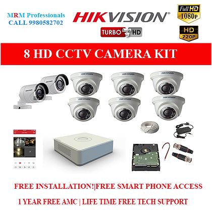 8 HIKVISION 1MP HD BEST QUALITY CAMERA KIT WITH ALL ACCESSORIES