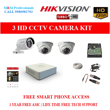 3 HIKVISION  HD CCTV Cameras 1MP with  HD 4Ch DVR Kit with All Accessories