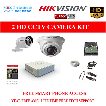 2 HIKVISION  HD CCTV Cameras 1MP with  HD 4Ch DVR Kit with All Accessories