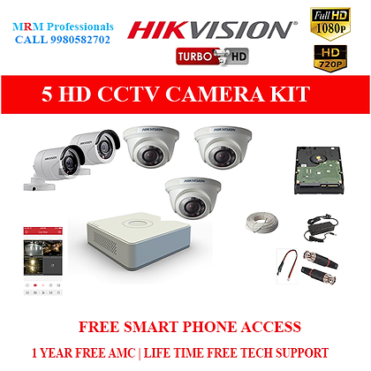 5 HIKVISION 1MP HD BEST QUALITY CAMERA KIT WITH ALL ACCESSORIES