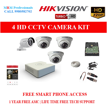 4 HIKVISION 1MP HD BEST QUALITY CAMERA KIT WITH ALL ACCESSORIES