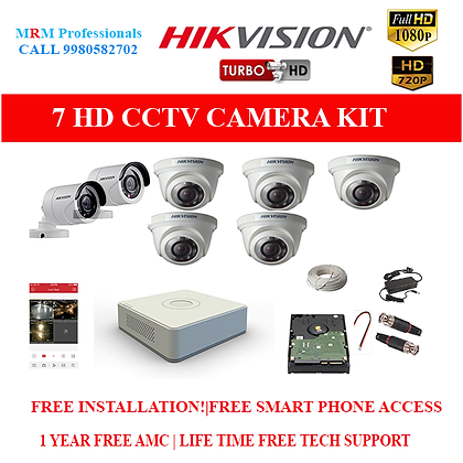 7 HIKVISION 1MP HD BEST QUALITY CAMERA KIT WITH ALL ACCESSORIES
