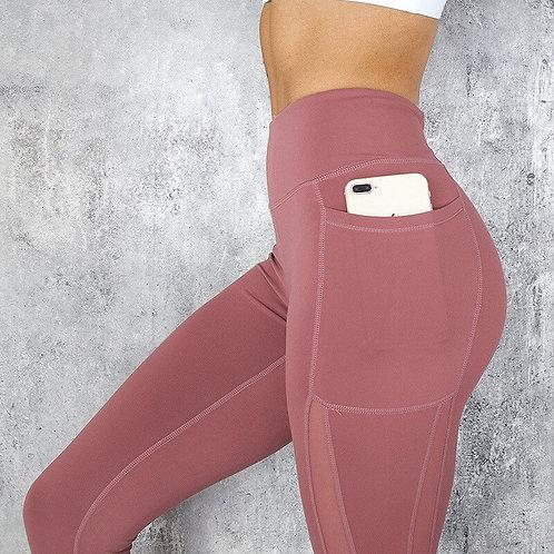 Women Mesh Leggings  Push Up Pocket ActiveWear High WaistJeggings Breathable