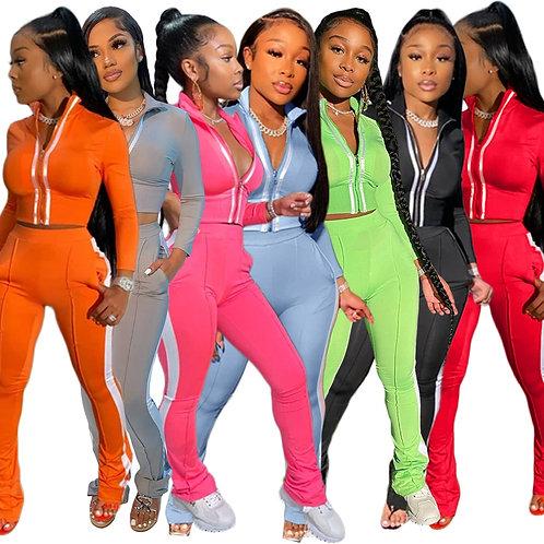 Echoine Women Splice Two Piece Set Tracksuit Crop Top and Pants Lounge Wear