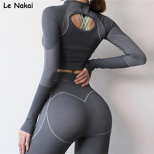 2pcs Seamless Yoga Sets for Women Long Sleeves Top Fitness Legging Sets Gym Suit