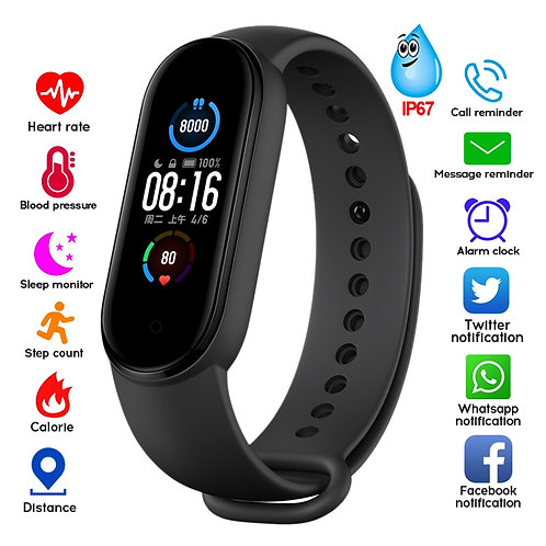 M4  M5 Smart Band Fitness Tracker Bracelet Heart Rate Blood Pressure Monitor