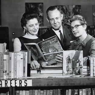 Eunice VanderVeen (on right), second librarian, 1962 - 1964