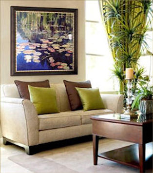 Image of large printed image over couch