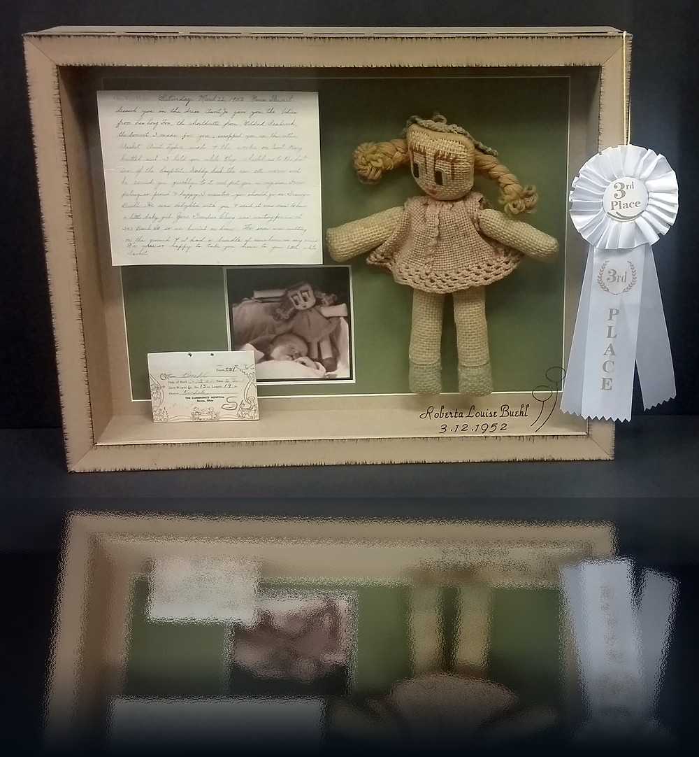 Shadowbox of handmade doll - letter and birth announcement