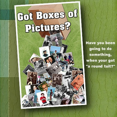 Disorganized box of old photos