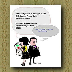 Cartoon showing crazy %off schemes
