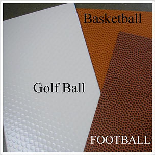 Mats that look like a golfball, football, basketball