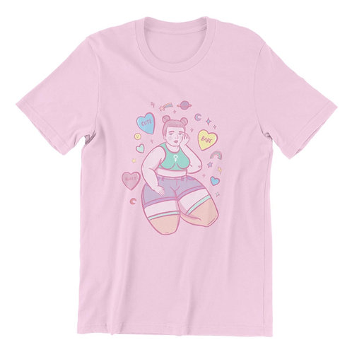 Candy hearts babe pink tee