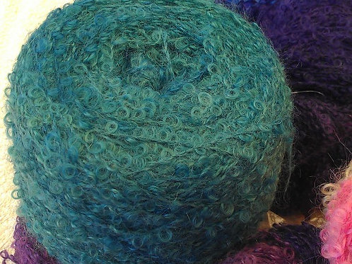 Boucle Mohair Yarn - Greens - 300gm ball