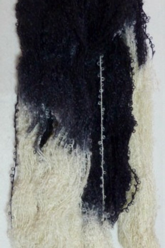 In Black & White Boucle Mohair Knitting Yarn