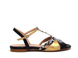 Sandale 2 AMICO Or et Reptile