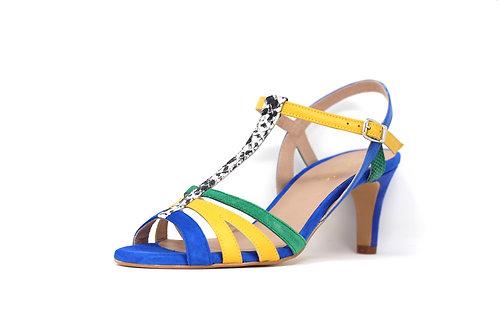 sandale talon bleu électrique