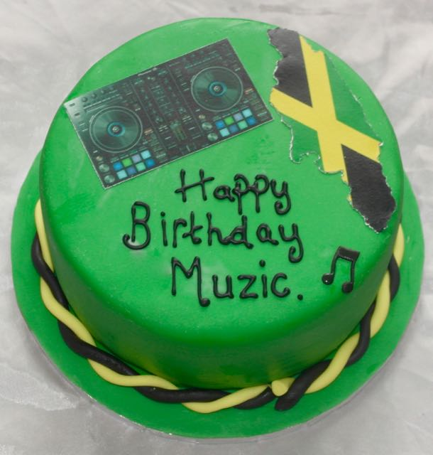 Jamaica Flag Music Birthday Cake