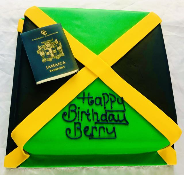 Jamaican flag and passport cake