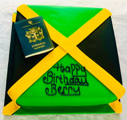 Jamaican flag and passport cake