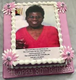 80th Photo Birthday cake