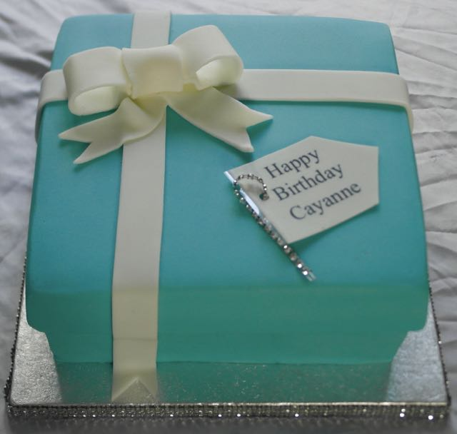 Tiffany Blue Birthday Box Cake