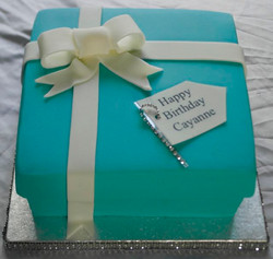 Tiffany Blue Birthday Box Cake